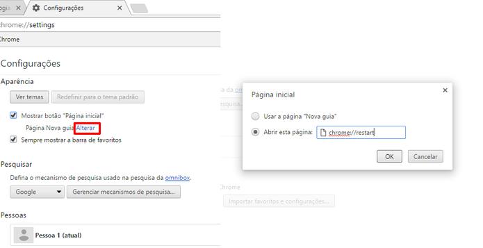Adicione a URL como Página inicial do Chrome para reiniciar com o comando Alt+Home (Foto: Reprodução/Elson de Souza)