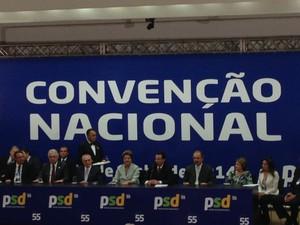 Em convenção nacional, PSD aprova apoiar Dilma na eleição de outubro.  (Foto: Nathalia Passarinho/G1)