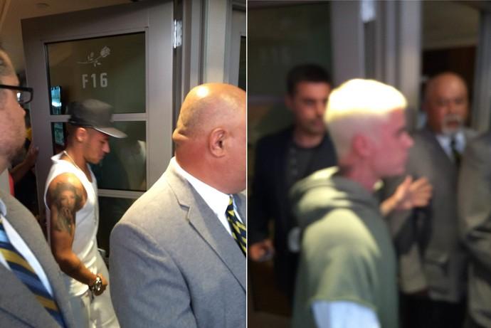 Neymar e Justin Bieber saem do camarote no estádio Rose Bowl (Foto: Alexandre Lozetti/GloboEsporte.com)