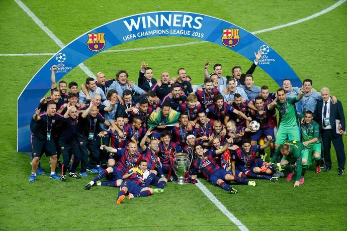 Jogadores comemoração champions  Barcelona  x Juventus  (Foto: Reuters)