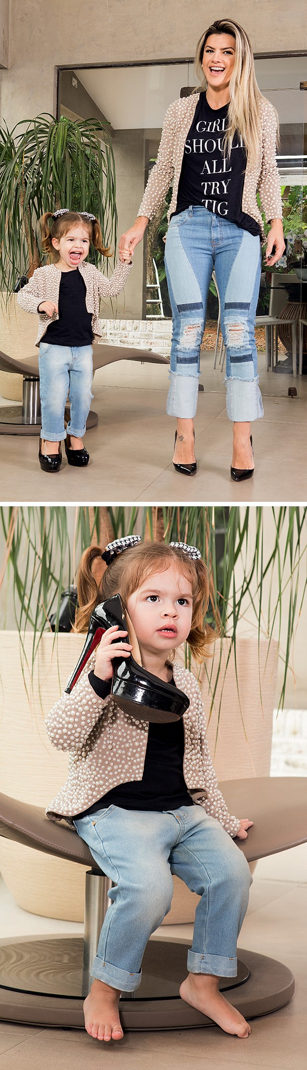 """A Valentina já pega meus  sapatos e consegue andar  com meus saltos de 16  centímetros"", conta Mirella  (Foto:  )"