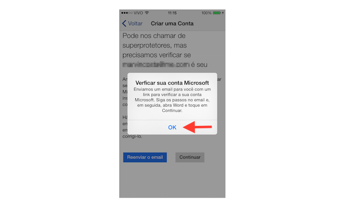 Mensagem de verificação de nova conta da Microsoft por mensagem de e-mail (Foto: Reprodução/Marvin Costa)