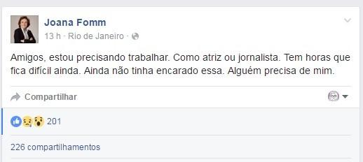 Post de Joana Fomm no Facebook (Foto: Reprodução/Facebook)
