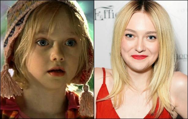 Quem via Dakota Fanning em suas primeiras aparições na TV achava que ela nunca iria crescer... Hoje a bela moça está com 20 anos. (Foto: Reprodução e Getty Images)