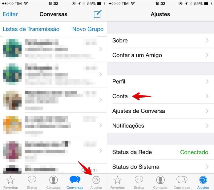 Apagando conta do WhatsApp (Foto: Reprodução/Helito Bijora)