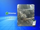 Vídeo mostra táxi em chamas no trânsito de Rio Preto; veja