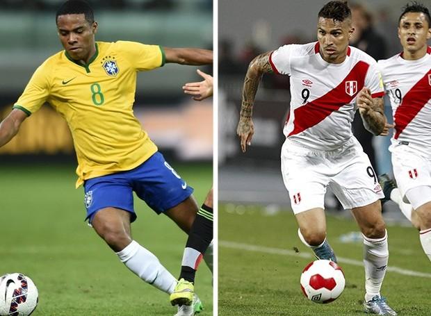 Elias e Guerrero se reencontram nesta terça no duelo entre Brasil e Peru, em Salvador (Foto: Arte / Globoesporte.com)