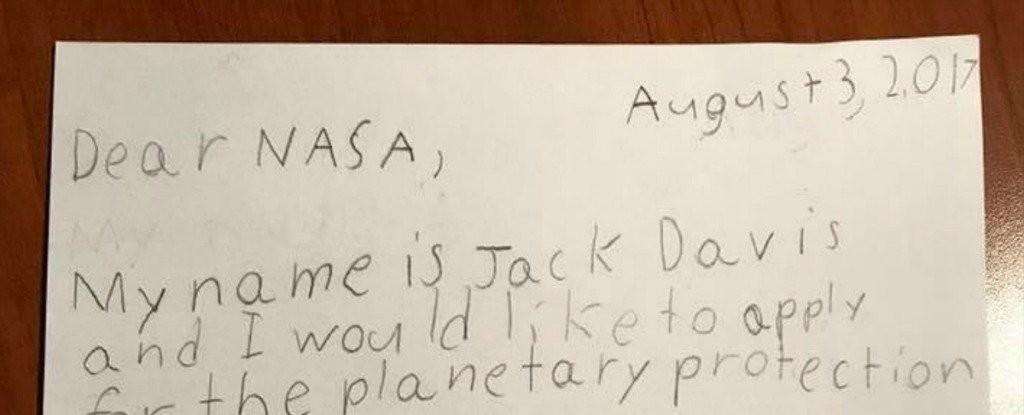 Trecho da carta do garoto Jack Davis à Nasa (Foto: Reprodução)
