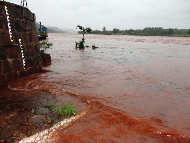 Nível do Rio Uruguai subiu 8 metros em Porto Mauá (Foto: Vilson Winkler/Prefeitura de Porto Mauá)