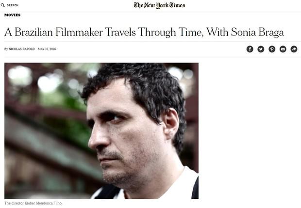 Filme Aquarius, com Sonia Braga, ganha destaque no jornal The New York Times (Foto: Reprodução)