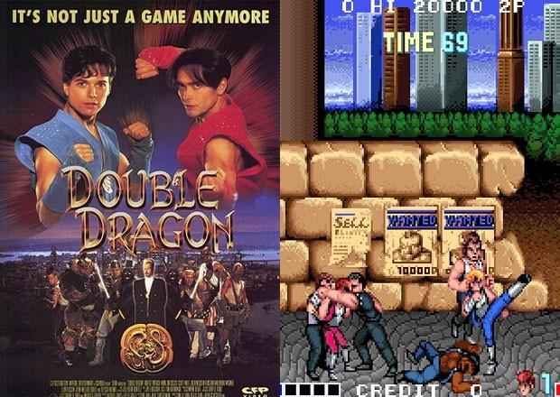Game 'Double Dragon' em seu filme (à esq.) e no fliperama (à dir.) (Foto: Divulgação/Tecmo/Gramercy Pictures)