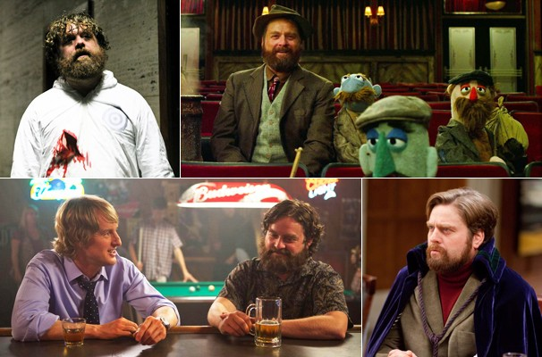 Zach em 'Operação Fim de Jogo' (2010), 'Os Muppets' (2011), ao lado de Owen Wilson em 'Você Está Aqui' (2013) e em 'Um Jantar Para Idiotas' (2010)     (Foto: Divulgação/Reprodução)
