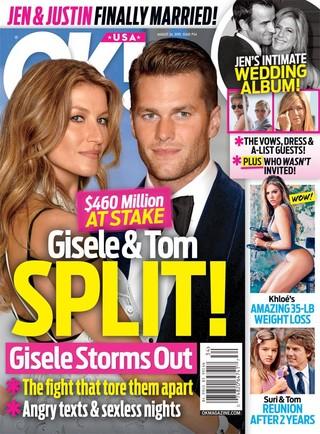 Gisele Bündchen e Tom Brady na capa da OK! (Foto: Reprodução)