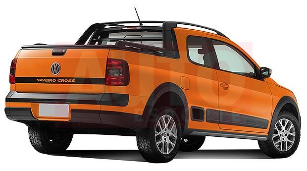 Projeção revela visual da nova Volkswagen Saveiro (Foto: Renato Aspromonte/Autoesporte)
