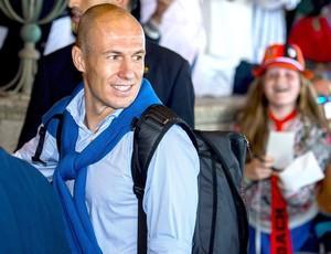 Robben chegada da seleção Holandesa na Holanda (Foto: Agência EFE)
