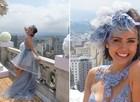 Acessório de cabeça de Patrícia foi feito com tecidos do vestido (Foto: Amor à Vida/TV Globo)