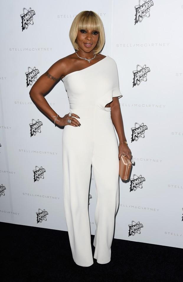 Mary J. Blige em evento de moda em Los Angeles, nos Estados Unidos (Foto: Frazer Harrison/ Getty Images/ AFP)