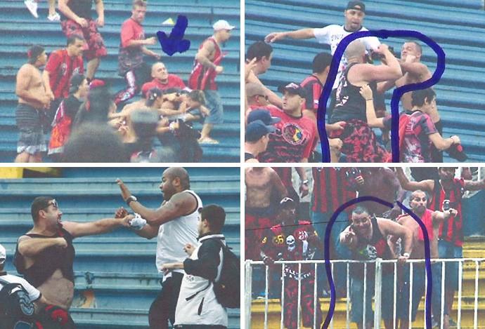 torcedores Atlético-PR briga Joinville (Foto: Reprodução / RPCTV)
