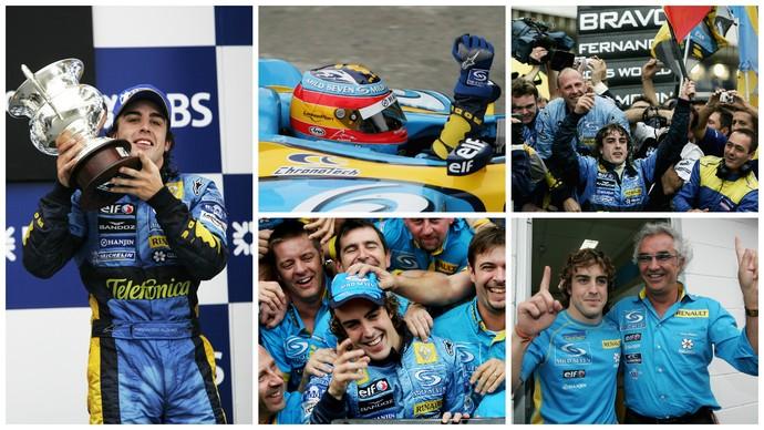 A festa do título em Interlagos: Fernando Alonso é o campeão mundial de 2005 (Foto: Getty Images)