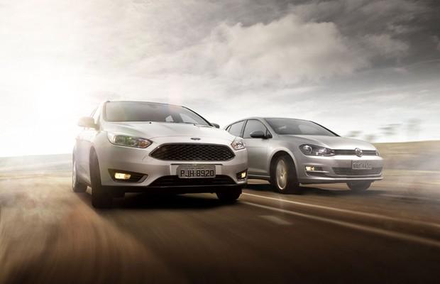 Ford Focus 1.6 SE Plus e Volkswagen Golf 1.6 Comfortline (Foto: Leo Sposito / Autoesporte)