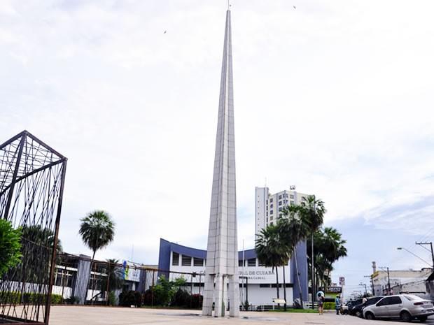 Marco do Centro Geodésico em Cuiabá (Foto: Tita Mara Teixeira/G1)
