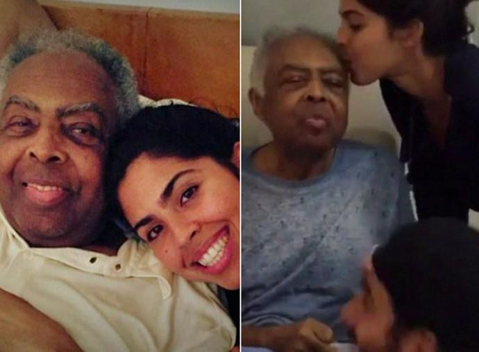 Bela em momento fofo com o pai, Gilberto Gil (Foto: TV Globo)