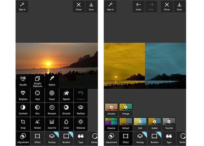 Pixlr tem pacotes com filtros para aplicar nas suas fotos (Foto: Reprodução/Barbara Mannara)