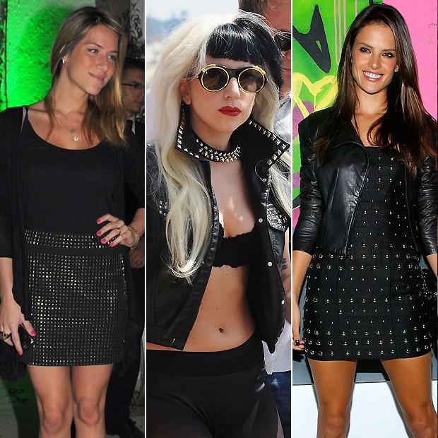Giovanna Ewbank com a saia; Lady Gaga enfeitou o colete; e Alessandra Ambrosio o vestido (Foto: Ag News e Getty Images)