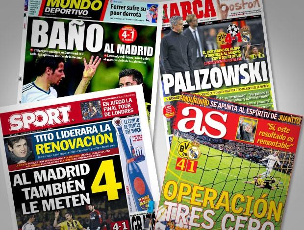 Reprodução jornais as.com, marca, mundo deportivo, Sport Borussia dortmund e Real Madrid liga dos campeões (Foto: Editoria de arte)