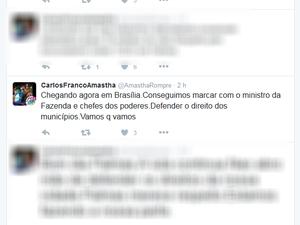 Prefeito disse que está em Brasília em compromisso oficial (Foto: Reprodução)