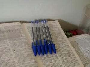 Lucas usou quatro cadernos e 26 canetas esferográficas para copiar livro sagrado (Foto: Divulgação)