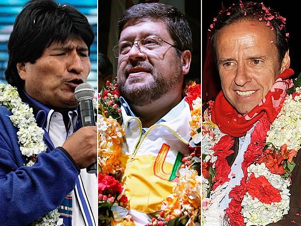 Da esquerda para a direita: o atual presidente e candidato à reeleição, Evo Morales, e os oponentes Samuel Doria Medina e Jorge Quiroga (Foto: David Mercado/Reuters e Jorge Bernal/AFP)