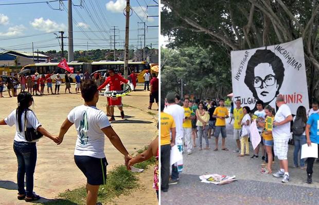 Manaus teve protestos contra Dilma e contra Temer neste domingo (Foto: Reprodução/TV Amazonas e Adneison Severiano/G1 AM)