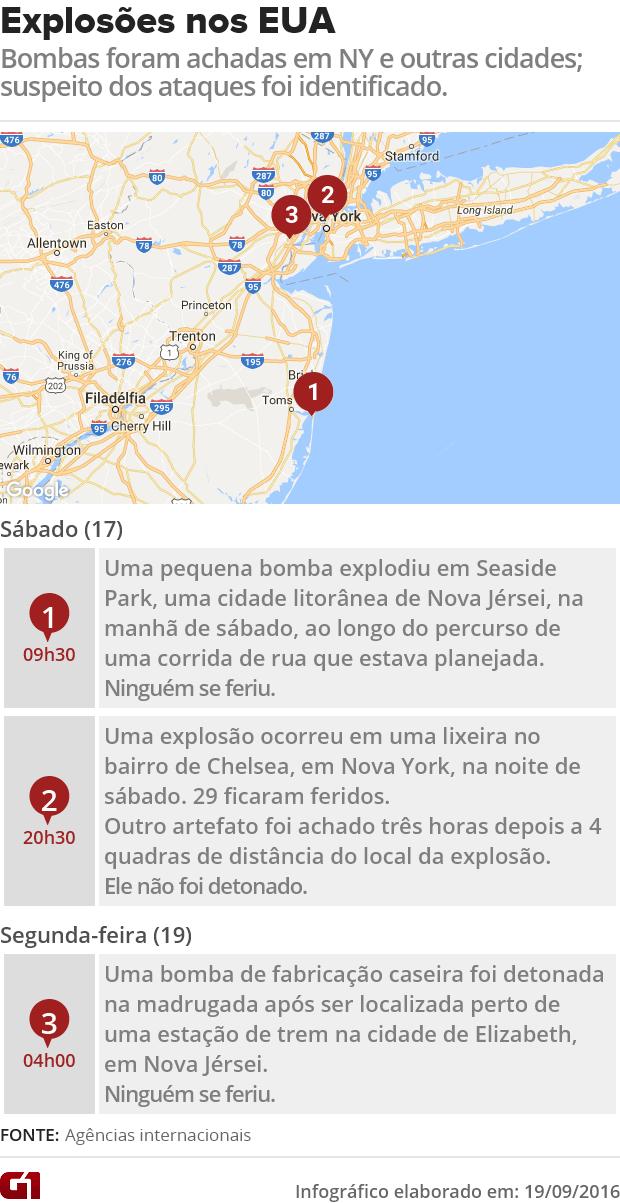 Arte - explosões nos EUA (Nova York e Nova Jérsei) (Foto: G1)