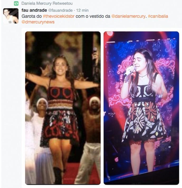 Daniela Mercury mostra candidata com o mesmo vestido que ela usou (Foto: Gshow)