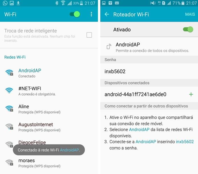 Os dois dispositivos exibirão mensagens informando a conexão (Foto: Reprodução/Aline Batista)