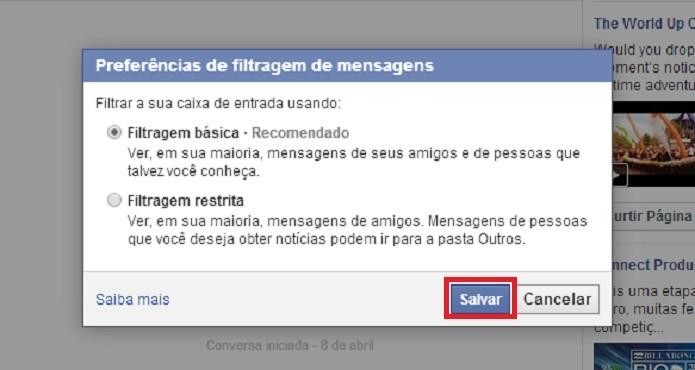 Escolha a opção de filtro que deseja para suas mensagens do Facebook (Reprodução/Taysa Coelho)