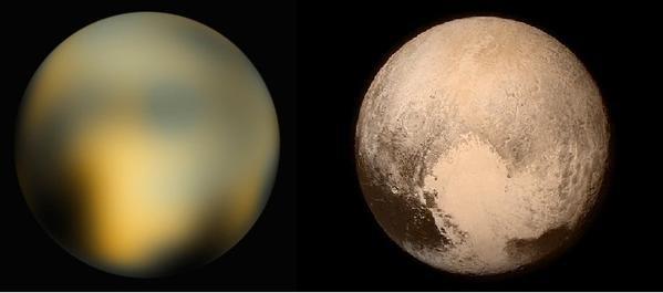Na imagem à esquerda, Plutão captado pelo telescópio Hubble; à direita, a imagem nítida feita pela sonda New Horizons (Foto: Hubble: NASA/ESA. New Horizons: NASA/JHU-APL/SwRI)