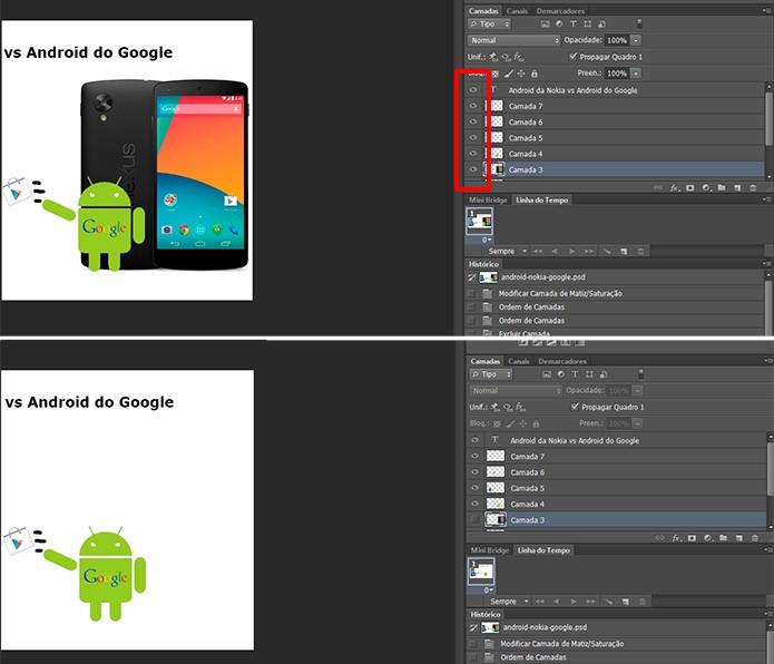 Photoshop oferece opção de ocultar camadas para facilitar a edição (Foto:  Reprodução/Elson de Souza)