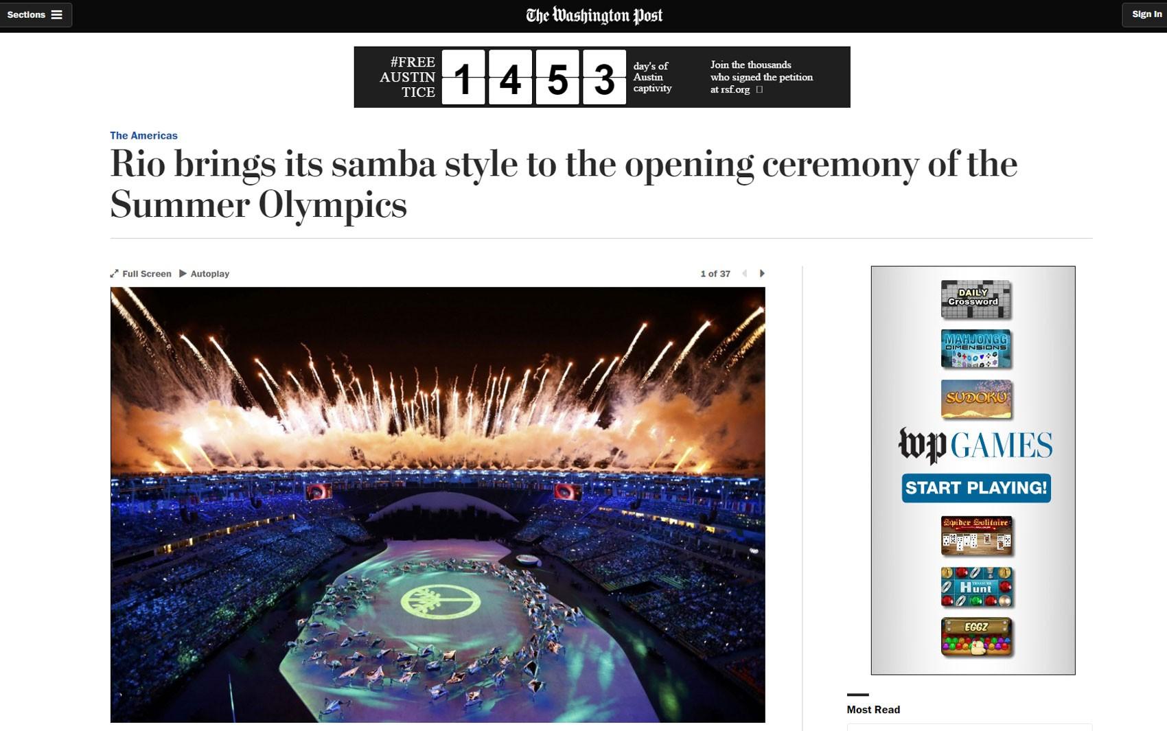 'Washington Post' fez elogios e disse que brasileiros se prepararam por anos para a cerimônia de abertura da Olimpíada do Rio