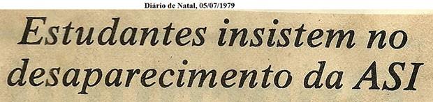 Recorte do jornal Diário de Natal fala sobre a presença da ASI na UFRN (Foto: Divulgação/Comissão da Verdade da UFRN)