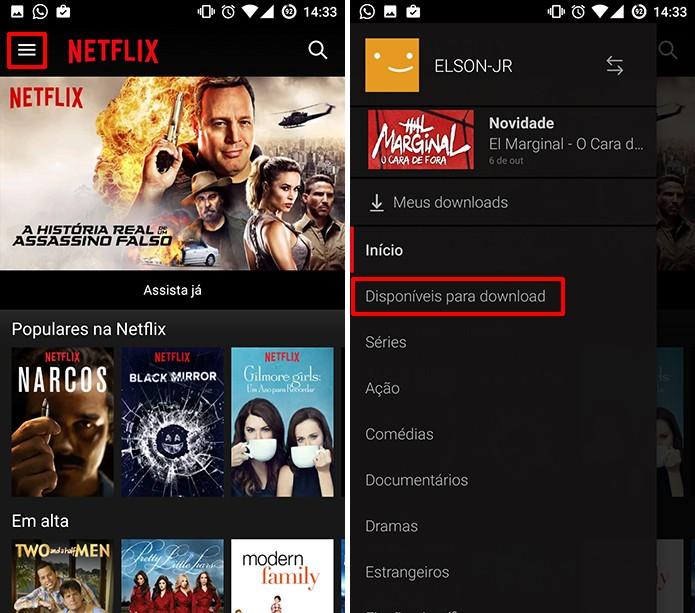 Netflix agora permite baixar filmes e séries para assistir offline no Android e iOS (Foto: Reprodução/Elson de Souza)