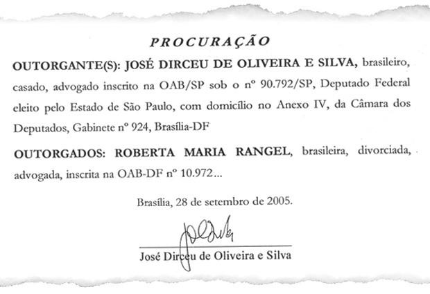 Em setembro de 2005, Dirceu passou uma procuração para a advogada Roberta Rangel defendê-lo (Foto: Reprodução)