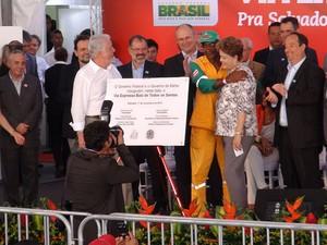 Dilma Roussef na inauguração da Via Expressa, em Salvador, Bahia (Foto: Lílian Marques/ G1)