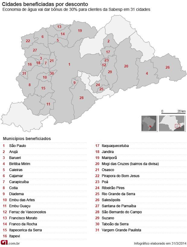 Cidades incluídas na área de incentivo à economia através de desconto (Foto: Arte/G1)