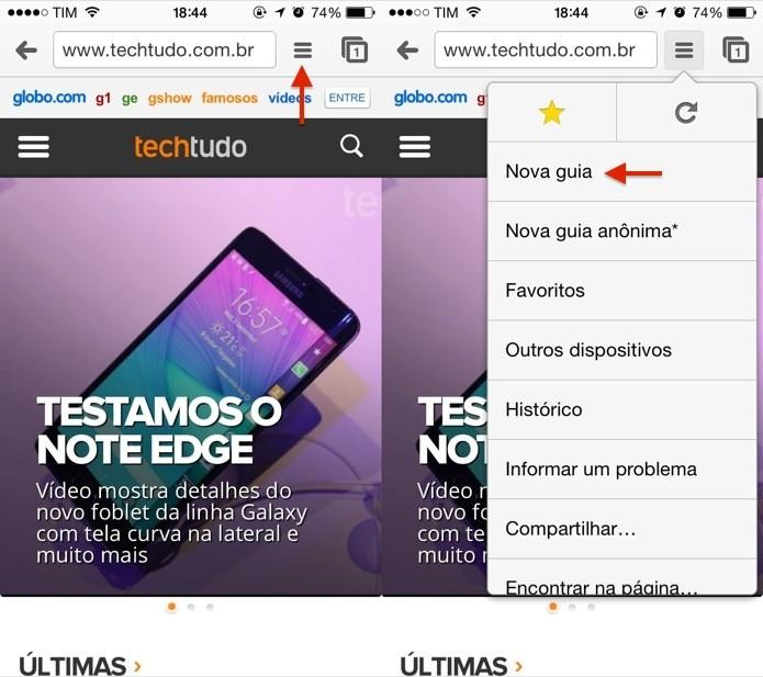 Acesse o menu do Chrome e abra uma nova aba (Foto: Reprodução/Helito Bijora)