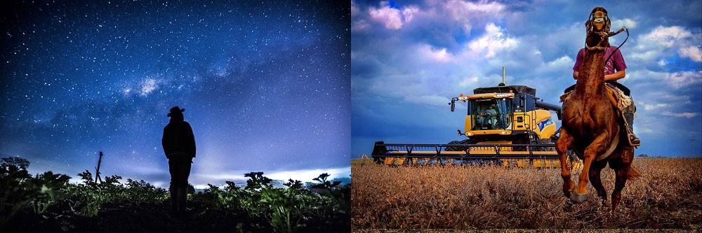 O agricultor observa o céu de geada/ Poder (Foto: Sergio Reghin Ranalli/ Alberto Alejandro Elias )