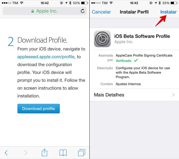Instale a configuração de software beta da Apple (Foto: Reprodução/Helito Bijora)