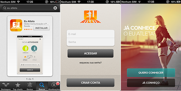 Telas App Eu Atleta (Foto: Editoria de Arte / EUATLETA.COM)