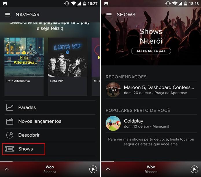 Spotify exibe shows populares e baseados nos artistas que você segue (Foto: Reprodução/Elson de Souza)